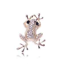 Charm Frog Animal Party Unisex Gold Tone Brooch Pins Rhinestone Crystal Jewelry