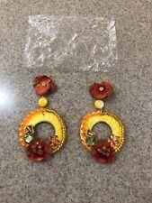 Big Tropical Yellow Flat (Nib) Hoop Dangling Fashion Earrings -