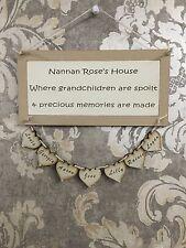 Nana Nan Nanan Grandma Grandad Mothers Day Personalised Hearts Plaque Sign