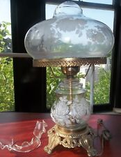 Vintage ELECTRIC Lamp Oil Style HAND PAINTED Florals WORKS