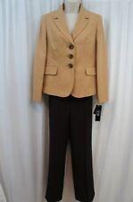Le Suit Petite Pant Suit Sz 6P Camel Chocolate Business Career 2 PC Pant Suit