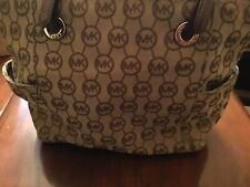 Michael Kors Women's Handbag Top Zip Snap Pocket Signature Tote Brown