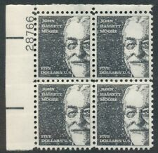 US: 1966; Sc 1295 - MNH John Bassett Moore $5.00, Plate Block, Top Left