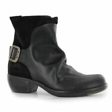 Womens Fly London Mel Black Leather Suede Buckle Low Heel Ankle BOOTS Size UK 5 / EU 38 / US 7 / Aus 8