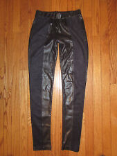 ALBERTO MAKALI BLACK FAUX LEATHER SUEDE PANEL LEGGINGS~XSMALL