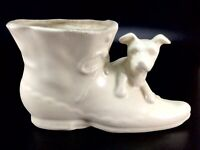 McCoy USA High Button Shoe Planter White Matte Dog and Boot Vase