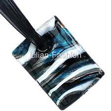 Silver Black Rectangle Lampwork Glass Murano Bead Pendant Ribbon Necklace Cord
