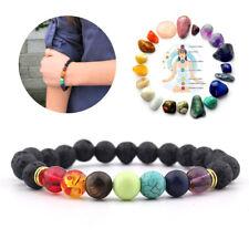 20X 7Chakra Healing Beaded Natural Bracelet Lava Stone Diffuser Bracelet Jewelry