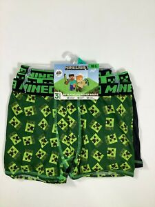 Boys Minecraft Green Boxer Briefs Large 3 pack NEW! NWT