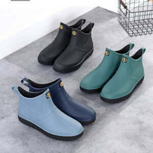 UK Mens Rubber Rain Boots Waterproof Wellington Wellies Ankle Slip Work Shoes