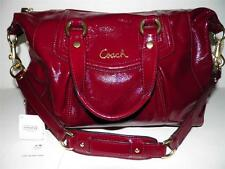 Coach Ashley Satchel Handbag Shoulder Bag Red Crimson Patent Leather F20460