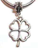 FOUR LEAF CLOVER_Bead 4 European Charm Bracelet_St Patrick Shamrock Irish_K24