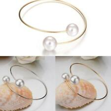 Elegant Womens Girls Fashion Double Pearls Hoop Bracelet Bangle Valentine' Gifts