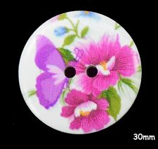 10 Large Wooden Round 30mm Pink Flower, Purple Butterfly White Buttons - BU1149