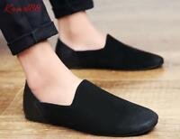classic retro Mens real leather Slip On casual flat Driving gommino shoes