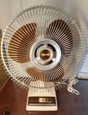 Vintage LASKO Electric Fan 12 inch Oscillating 3 speed Amber Brown Easy To Clean