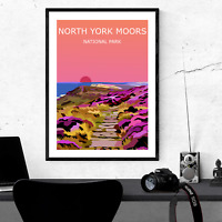North York Moors Sunset Art Print, National Park Landscape, Wild Hiking, Walking