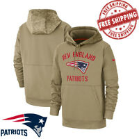 Men's New England Patriots Tan 2020 Salute to Service Sideline Therma Pullover