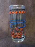 Vintage PEPSI COLA Tiffany Stain Style Tall Drinking GLASS Art Deco Pop Soda