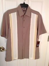 CENTRO Light Brown With Front Beige & Creme Striped Men's Shirt. Size Small. NEW