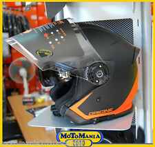 CASCO JET ORIGINE HELMETS PALIO DOPPIA VISIERA NERO FLOW ORANGE OPACO XL 61/62
