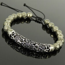 Men's Women Braided Bracelet Faceted Gold Pyrite 925 Sterling Silver Charm 1082