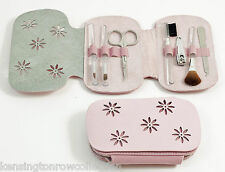 """LADIES ACCESSORIES - """"WINDSOR"""" MANICURE SET - PINK LEATHER & ULTRA SUEDE CASE"""