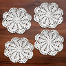 4Pcs/Lot White Vintage Cotton Hand Crochet Lace Doilies Round Coaster Cup Mat 6""