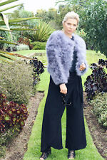 STUNNING OSTRICH FEATHER JACKET IN GREY - AVAILABLE IN MEDIUM & LARGE