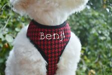 Personalized Custom Red and Black Plaid Soft DOG Cat Harness USA MADE Embroidery
