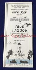 1982 Vintage Historic Geographic Dive Map Truk Lagoon Caroline Islands