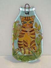 GATTO ARANCIONE BOTTIGLIA VETRO-RED CAT BOTTLE GLASS-CHAT ORANGE BOUTEILLE VERRE