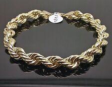 "10K Yellow Gold Rope Bracelet 8mm, 9"" Long"