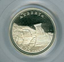 1992 CANADA ALBERTA SILVER 25 CENTS PCGS PR69 ULTRA HEAVY CAMEO FINEST GRADED *