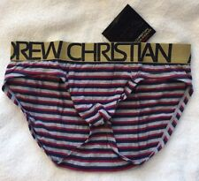 Authentic Andrew Christian 90030 Almost Naked Striped Executive Brief Slip XS