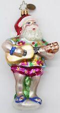 "Christopher Radko Pink Tropical Tunes Santa Christmas Ornament - H: 5"" w W: 3"""