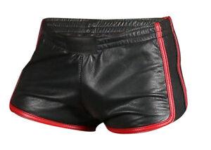 Mens Gym Boxer Sports Shorts  Sexy Real Black Soft Sheep Lamb Leather