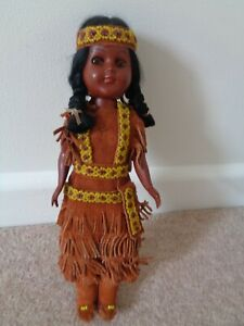 Vintage  Indian Doll with Baby In Carrier 10.75 inch