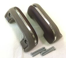 1936-52 except 49 CHEVY Passenger CAR complete ARMRESTS Upholstered BROWN - PAIR