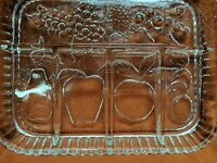 Vtg Indiana Glass Divided 5 Part Serving Relish Fruit Party Tray Clear w/Box
