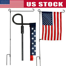 "Garden Yard Flag Pole Holder Stand Metal Iron Wrought Stake for 12""x18"" Flags"