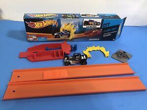 Hot Wheels City Flame Shot Action Launcher Track Piece Car Included Mattel Bone