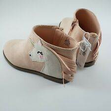 Old Navy Toddler Girls Pink Unicorn Ankle Booties Boots Size 10 NWT