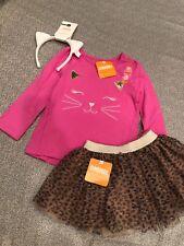 Nwt Gymboree Girl pink cat leopard Tulle Skirt Winter 3-piece Set 2 2T 18 24