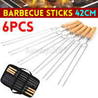 6Pcs Barbecue Tools Meat Grill U Shape Fork BBQ Fork Garpu Tool With Storage Bag