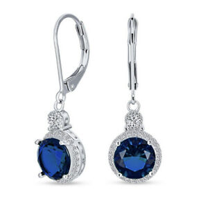 White gold finish Blue Sapphire And Created diamond Round cut Droplet earrings