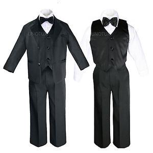 Toddler Kid Child Teen Boys Black Formal Wedding Party Suit Set Tuxedo Suit S-20