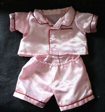 The Bear Factory Set of Two Piece PINK SILKY PAJAMAS Stuffed Animal Outfit Plush