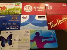 8x gift cards collection no value golf kobo petro bell esso telus itunes timmies