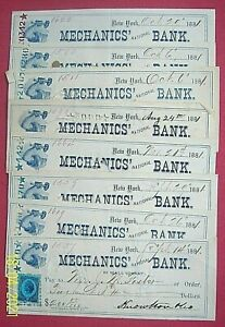 "1881 Mechanics' National Bank,  New York - 8 Checks ""Arm & Hammer"""